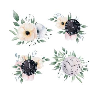 水彩の春の花と時計