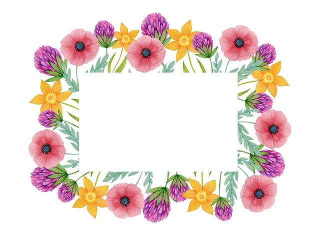 白い背景で隔離の水彩の春の花フレーム