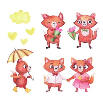 Watercolor spring foxes. cute characters illustration on white background.