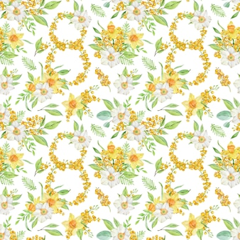 Watercolor spring seamless pattern with daffodils and mimosa branches. number eight