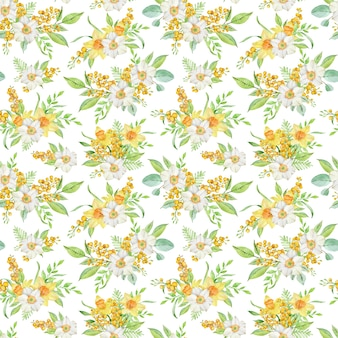 Watercolor spring seamless pattern with daffodils and mimosa branches