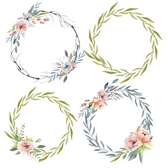 Watercolor spring wedding wreath