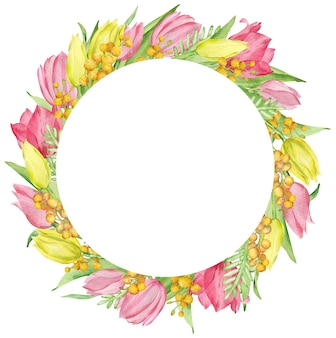노란색과 분홍색 튤립과 미모사 가지와 수채화 봄 화환