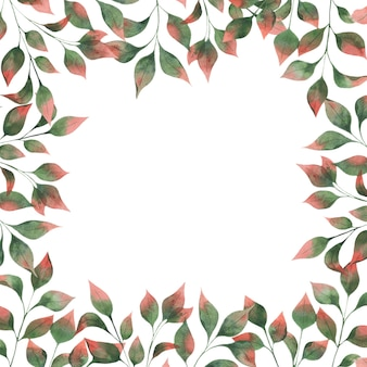 Watercolor square frame with autumn leaf branches, green leaves with red tips on a white background.