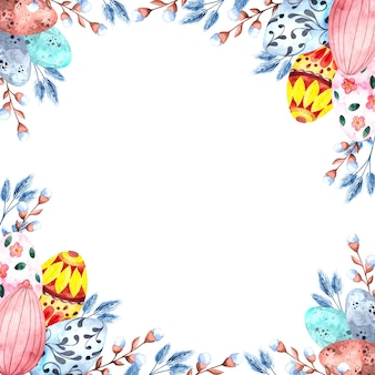 Watercolor square frame with colorful easter eggs and willow twigs for easter on a white background, happy easter - illustration for holidays, packaging, postcard template
