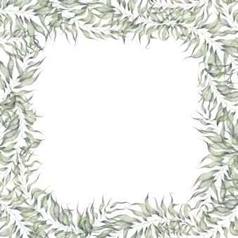白い背景で隔離の植物要素と水彩の正方形のフレームの葉と枝