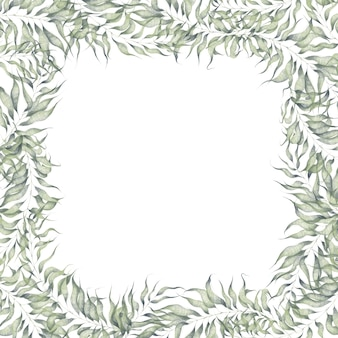 Watercolor square frame with plant elements isolated on white background branches with leaves