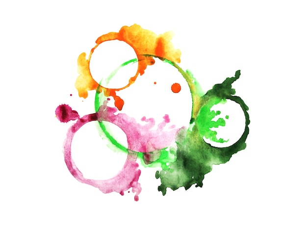 Watercolor stain circle bright color coffee imprint of cup mug round blog ring green liquid splash d...