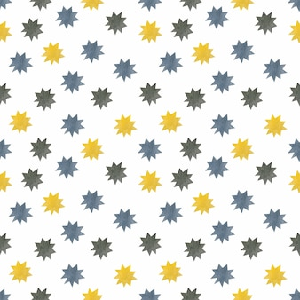 Watercolor stars seamless pattern