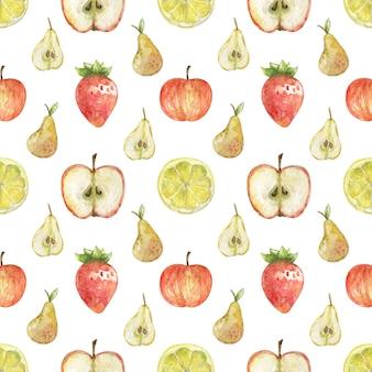 Акварель клубника, аппел, лимон и груши узор на белом фоне