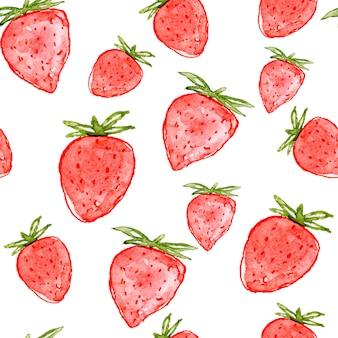 Watercolor strawberry seamless pattern.