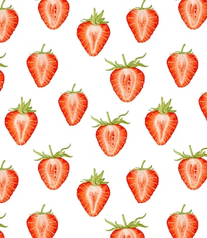 Watercolor strawberry seamless pattern.