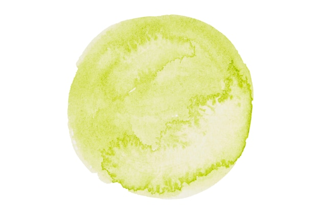 Watercolor stylized circle in green colors isolated