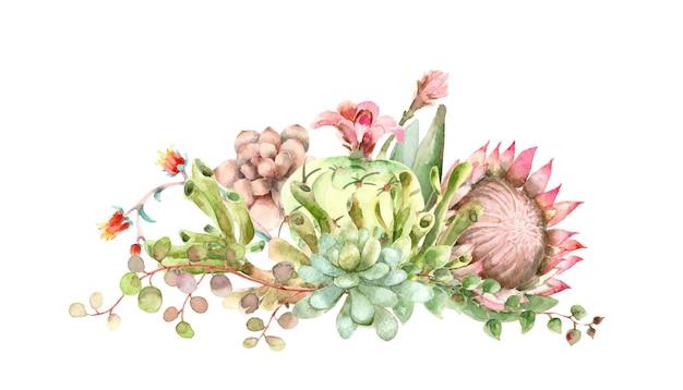 Watercolor succulents bouquet