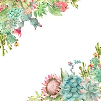Watercolor succulents frame