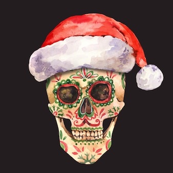 수채화 설탕 두개골 그림입니다. 블랙에 빈티지 스타일의 나쁜 산타 크리스마스 인사말 카드
