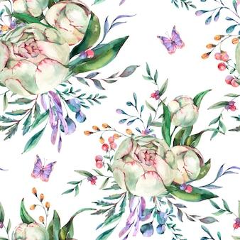 水彩夏の花のシームレスパターン