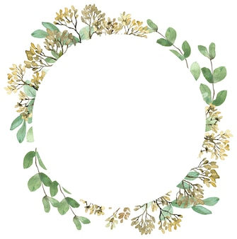 Watercolor summer greenery frame golden and green seededs on white background