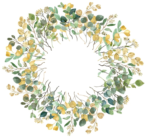 Watercolor summer greenery yellow and green eucalyptus branches round frame on white background