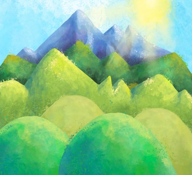 Акварель летний горный пейзаж, естественная солнечная сцена сельской местности.