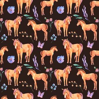 Акварель лето бесшовные модели красного коня и цветов