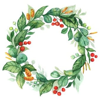Watercolor, summer wreath of leaves, red, green berries, yellow flowers.