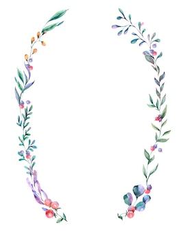 Watercolor summer wreath of wildflowers