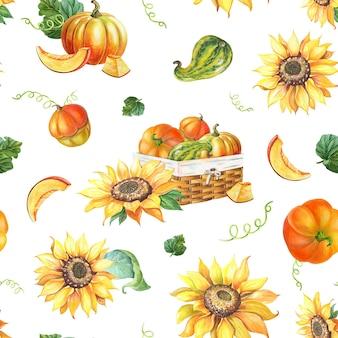 수채화 해바라기와 호박 바구니입니다. 꽃 원활한 패턴입니다. 노란색 helianthus 꽃, 박, 흰색 바탕에 녹색 잎으로 현실적인 그림. 인쇄용 여름, 가을 그림입니다.