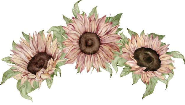 水彩ひまわりの花束。秋と感謝祭の花の装飾。
