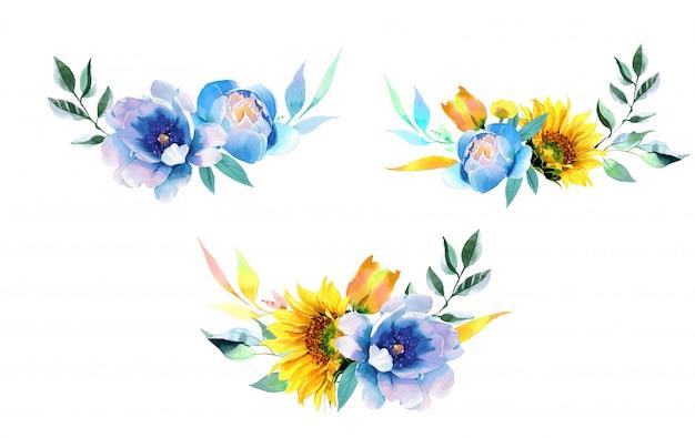 ひまわりと牡丹の水彩イラスト