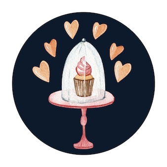 Watercolor sweet dessert illustration on a cake stand. delicious cake and cream cupcake. love and hearts