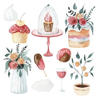 水彩の甘いデザートのイラスト集。美味しいケーキとチョコレートのイラスト。ウェディングフローラルセット
