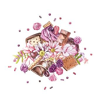 Коллекция акварельных сладостей. акварельное изображение из композиций из конфет, тортов и конвертов.