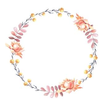 Акварельная чайная роза с листьями. акварель венок. шаблон с пространством для текста.