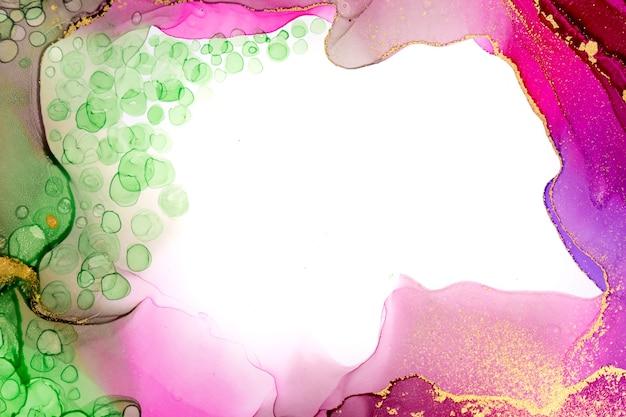 Акварельная структура с copyspace. зеленый и розовый фон чернил спирта.