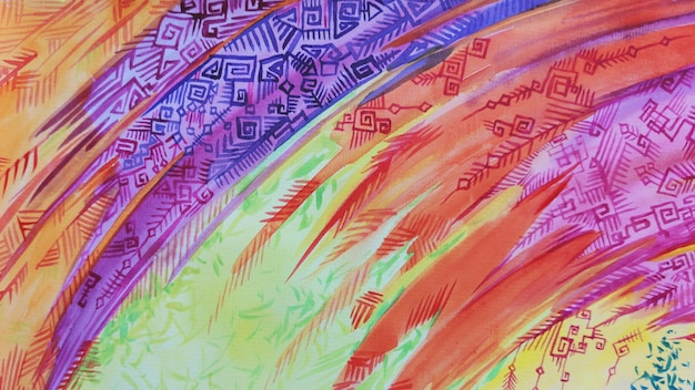 水彩部族自由奔放に生きるスタイルの背景。テクスチャブラシペイント描画。芸術的なヴィンテージアフリカのファブリックデザイン古い飾り伝統的な明るい色のイラスト。
