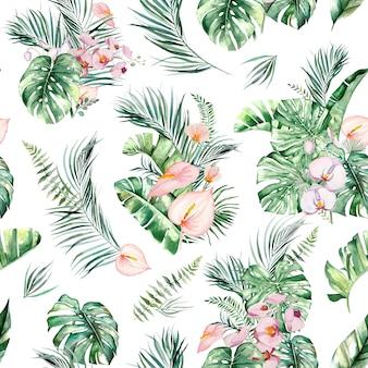 수채화 열 대 꽃과 나뭇잎 꽃다발 원활한 패턴 그림