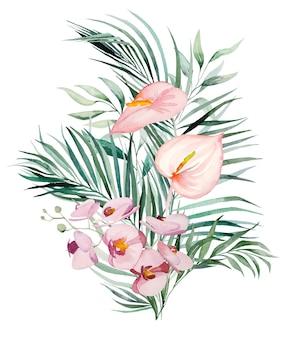 水彩の熱帯の花と葉の花束
