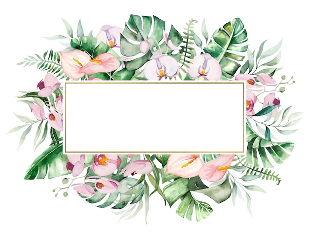 水彩の熱帯の花と葉の幾何学的なフレームの図