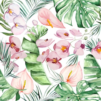 Watercolor tropical flowers and leaves bouquet seamless pattern  illustration