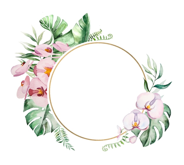 Watercolor tropical flowers and leaves circle frame illustration