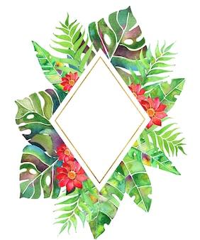야자수 잎, 몬스테라, 꽃이 있는 수채화 열대 프레임