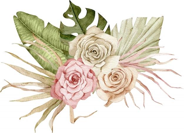 緑のヤシの葉と赤面とクリーミーなバラの水彩トロピカルイラスト。エキゾチックな花の花束。