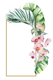 Акварельные тропические листья и цветы кадр изолированных иллюстрация для свадебных канцелярских принадлежностей, поздравления, обои, мода, плакаты
