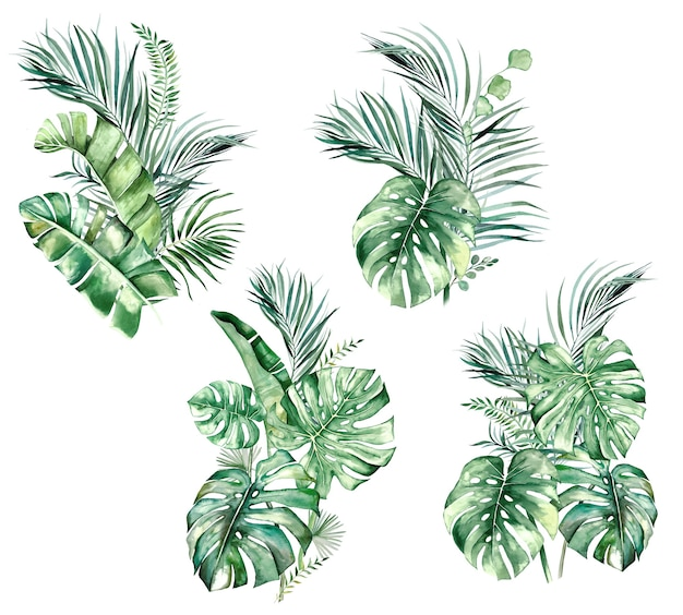 Watercolor tropical leaves bouquets isolated illustration for wedding stationary, greetings, wallpaper, fashion, posters