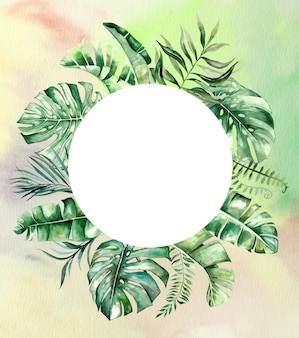 Watercolor tropical leaves circle frame illustration with watercolor background