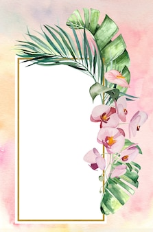 Watercolor tropical leaves and flowers frame illustration with watercolor background