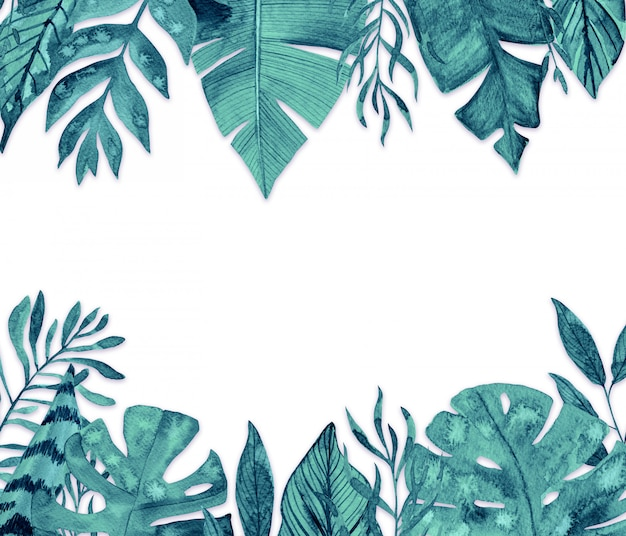 Watercolor tropical leaves frame on white background