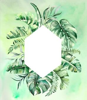 Акварельные тропические листья геометрическая рамка иллюстрация с зеленым акварельным фоном