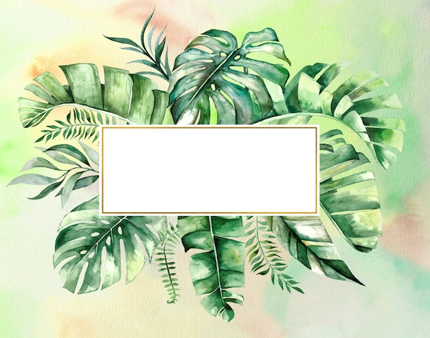 Watercolor tropical leaves geometric golden frame illustration with watercolor background